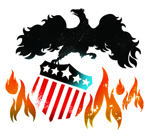 """USA Phoneix Rising From the Flames"" - Illustration by Gluekit for Portfolio Magazine 2008"