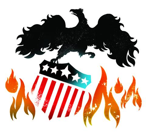 """USA Phoneix Rising From the Flames"" - Illustration by Gluekit for Portfolio Magazine 2008"