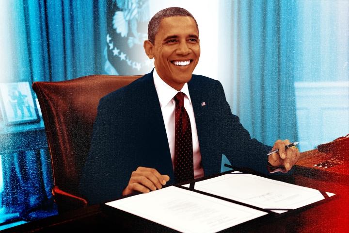 Illustration of Obama by Gluekit for Newsweek, 2012