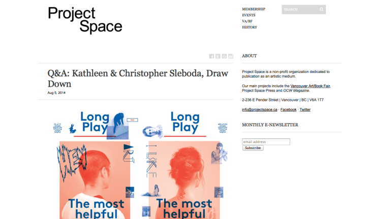 Screenshot of Project Space Interview with Gluekit / Draw Down Books